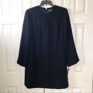 RALPH LAUREN Navy Long Sleeves Shift Dress 16